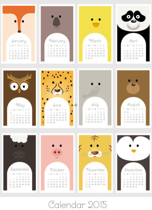 2015卡通动物挂历矢量图素材模板