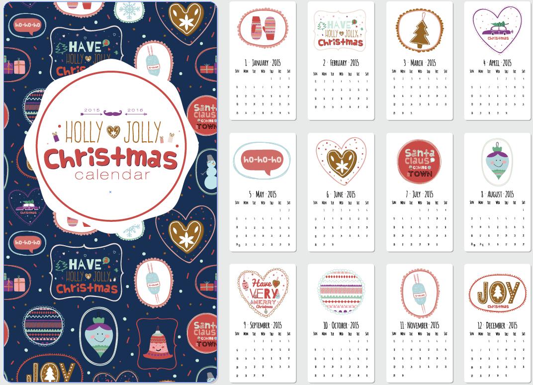2015可爱手绘日历模板