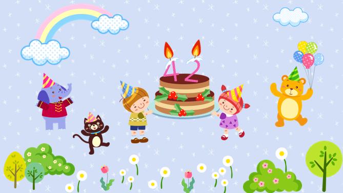 儿童生日会电子贺卡动态ppt模板卡通动物免费版下载