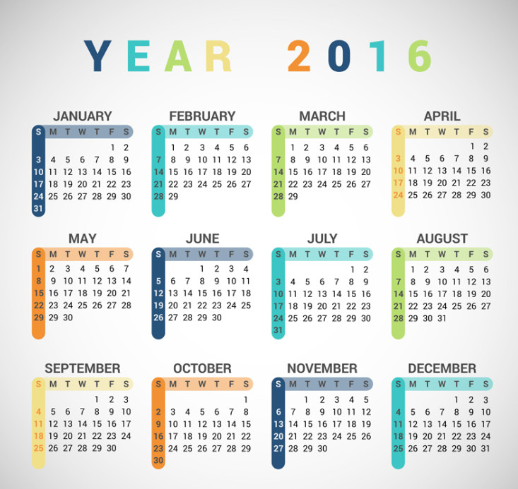 2016年年历表全图|2016年彩色年历矢量素材ai格式高清图片