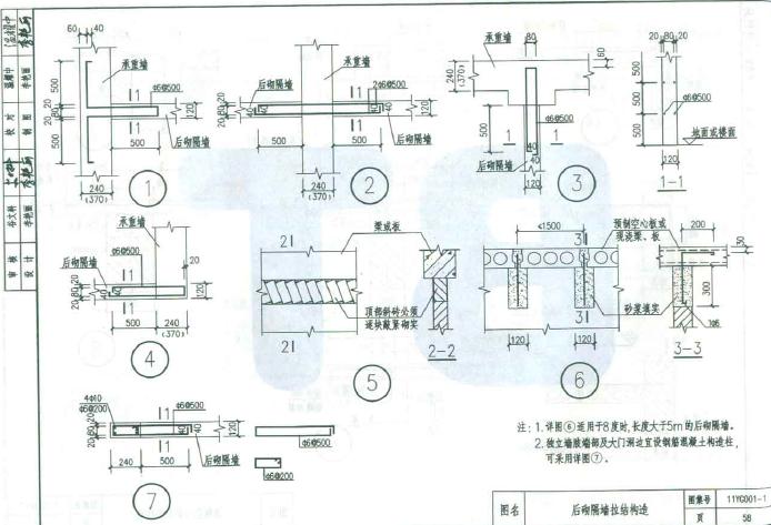 11yg0011图集|11yg001-1砌体结构构造详图(多孔砖