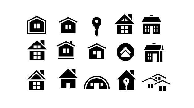 房子图标素材|小房子图标ppt素材【黑白风格】免费