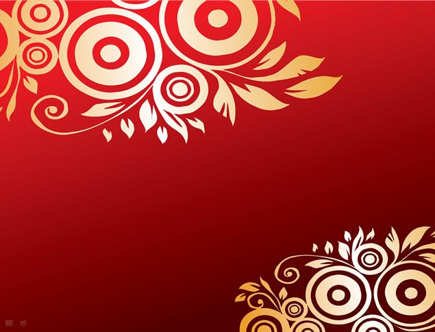 20张漂亮喜庆金色花边花朵ppt素材【红色背景图片】免费下载