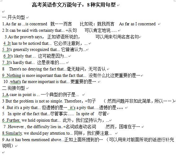 2016年高考英语作文万能句子及模板大全