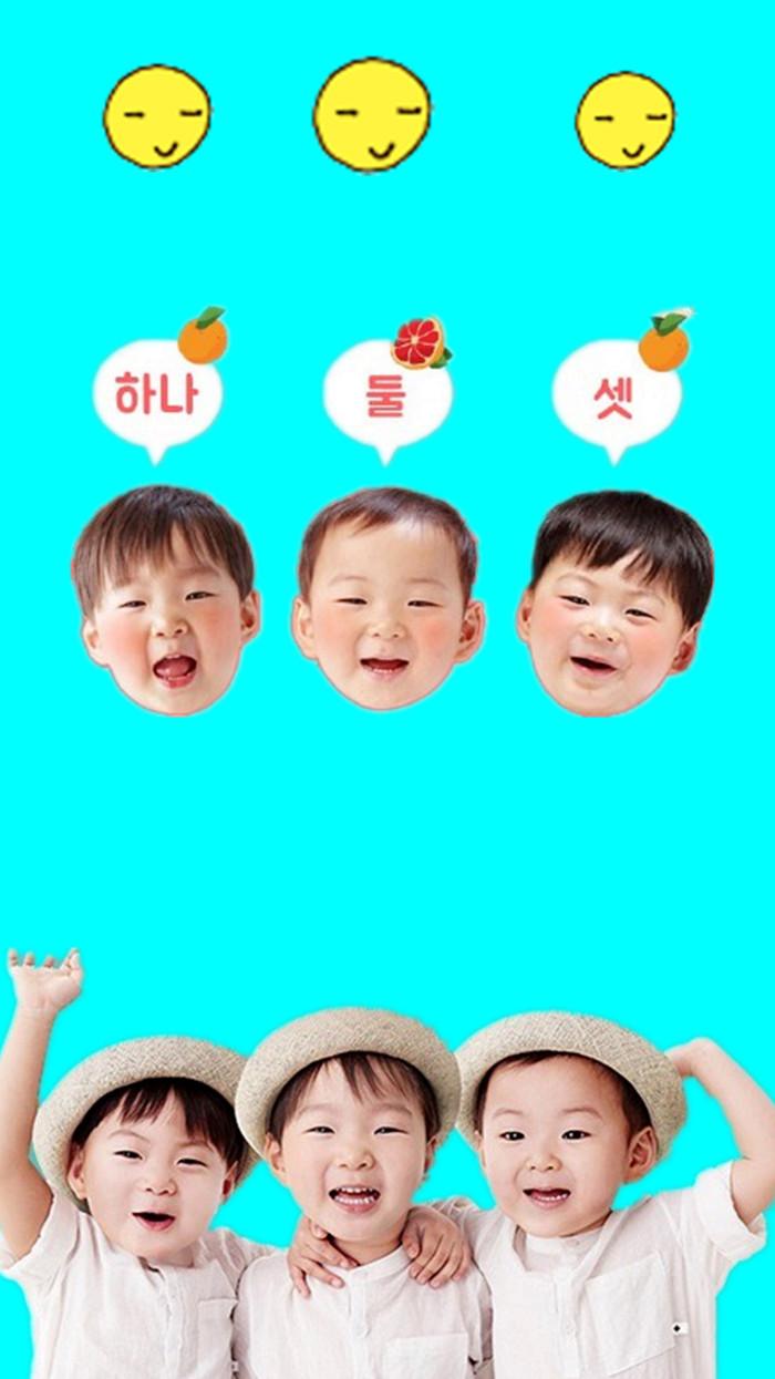 宋民国高清手机锁屏头像下载|大韩民国万岁三胞胎
