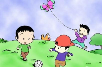 儿童画春天图画的作品:放风筝