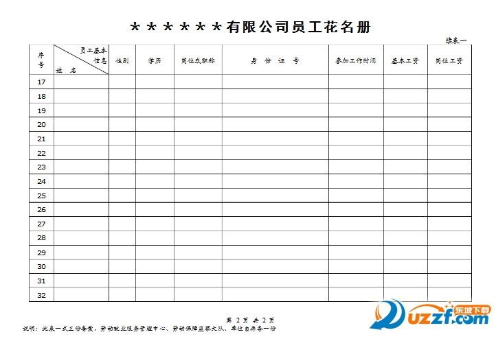 人力资源社会保障局_员工花名册模板下载-职工花名册样本(空白)xls格式最新打印版 ...