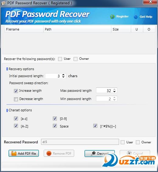 PDF密码恢复器截图1