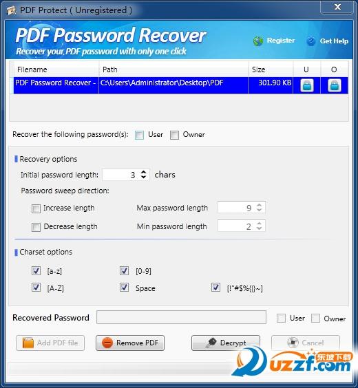 PDF密码恢复器截图2