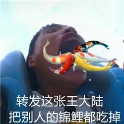 表情包内容 谁在我嘴里说话 转发这张王大陆吧别人的锦鲤都吃掉 啊啊图片