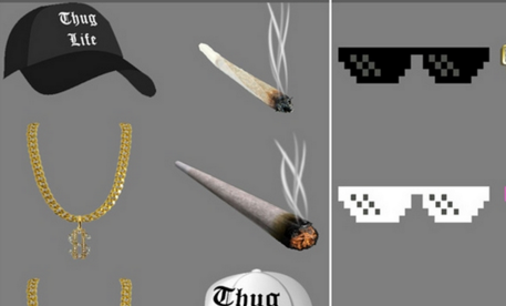 带卡通金墨镜叼着烟app最新版表情包项链美女可爱图片