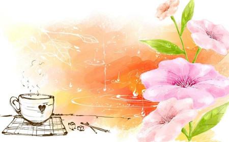 psd模板 花纹边框 → 手绘晕染文艺背景图设计psd素材 无水印版  手绘