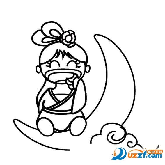 中秋的素材图片,有简笔画,彩绘图片,是关于嫦娥,兔子和月饼等重要元素
