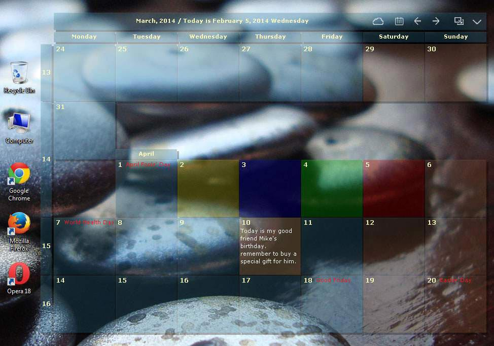 桌面日历(desktopcal)截图1