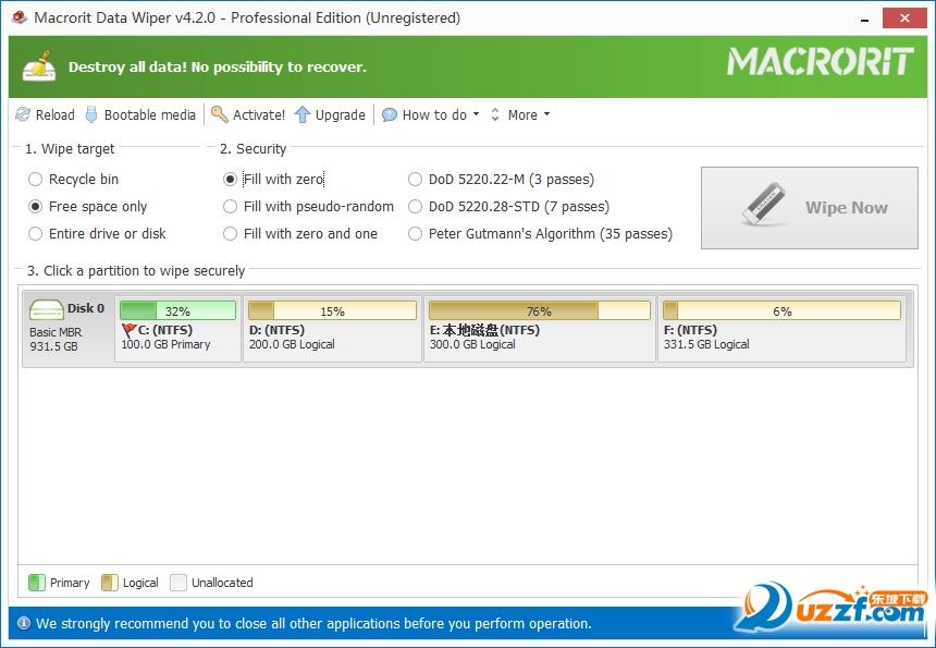 电脑数据擦除(Macrorit Data Wiper)截图1