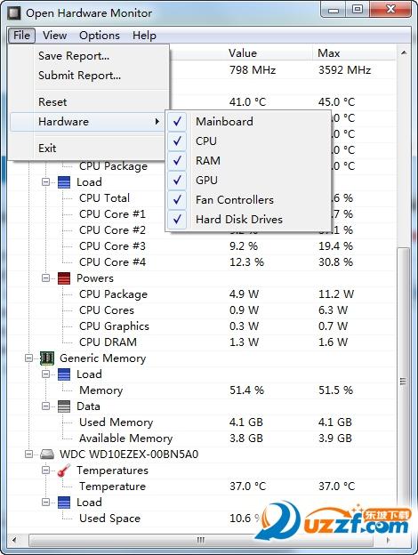 Open Hardware Monitor(显示硬件使用率和温度)截图0