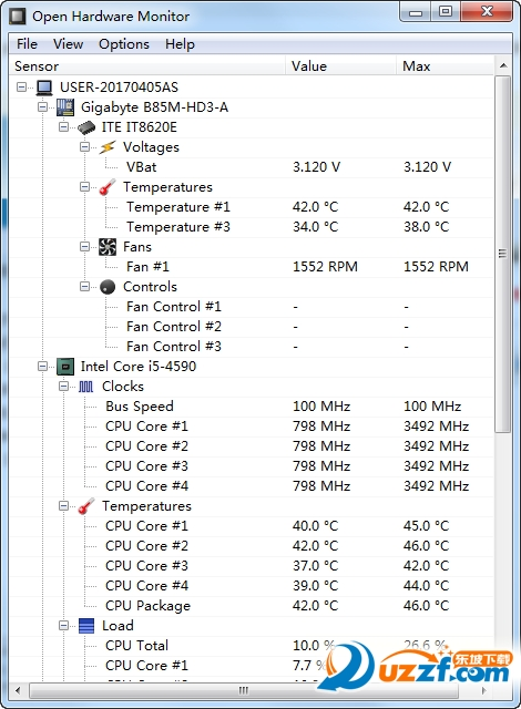 Open Hardware Monitor(显示硬件使用率和温度)截图1