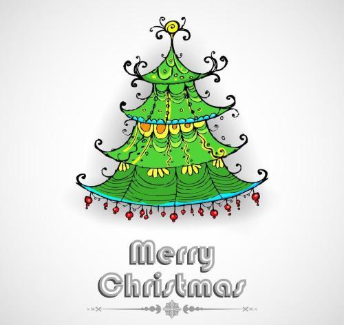 圣诞树图片手绘图片卡通