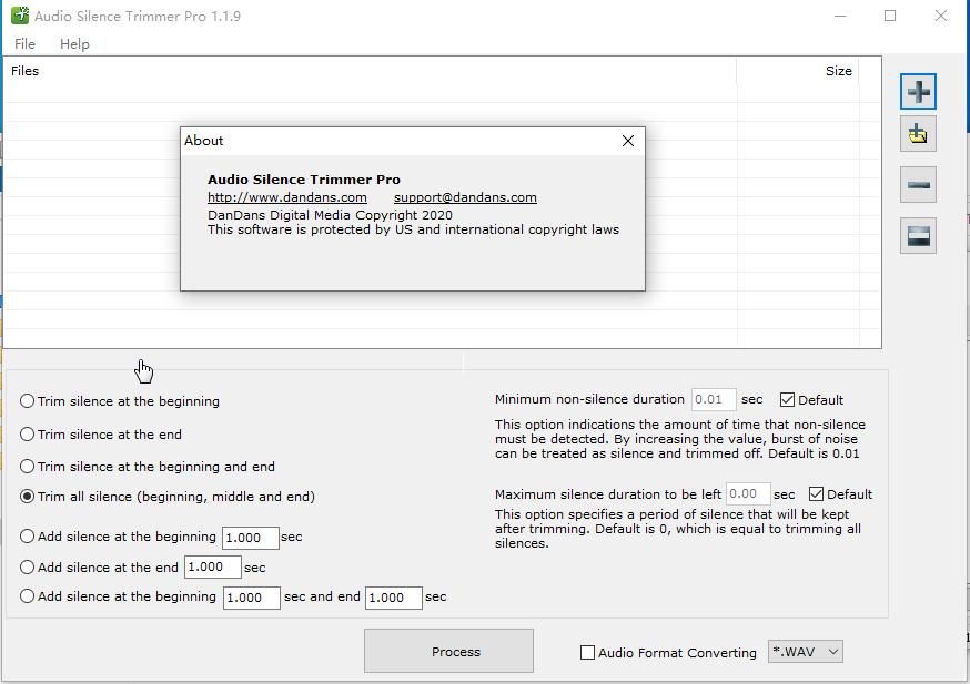 批量音频文件消除原声工具(Audio Silence Trimmer Pro)截图0