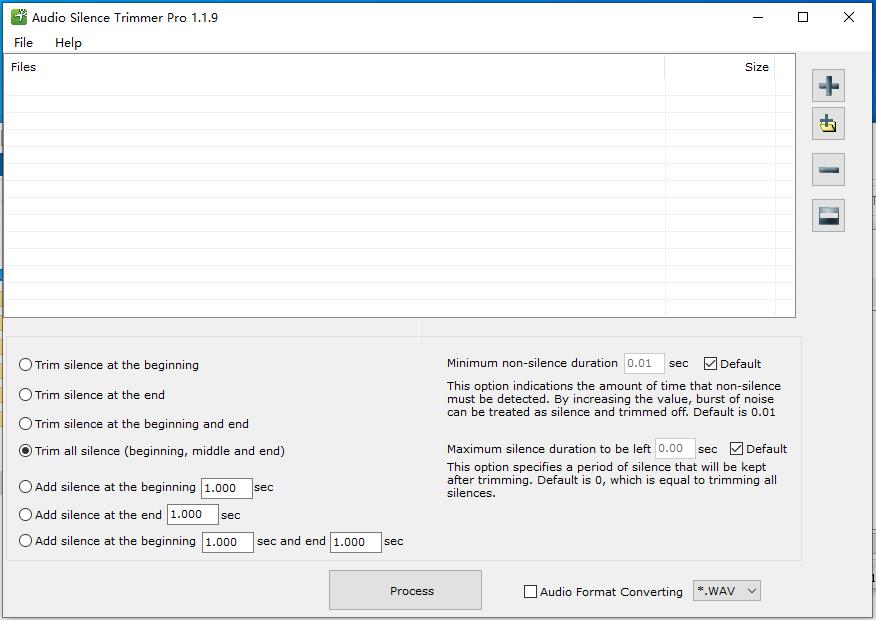 批量音频文件消除原声工具(Audio Silence Trimmer Pro)截图1